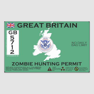 Great Britain Zombie Hunting Permit Sticker