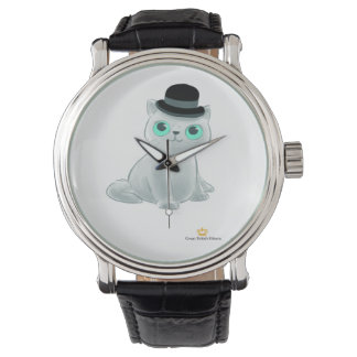Great British Kittens Black Vintage Leather Watch