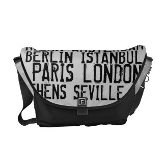 Great Cities of Europe Urban  Black & White Messenger Bags