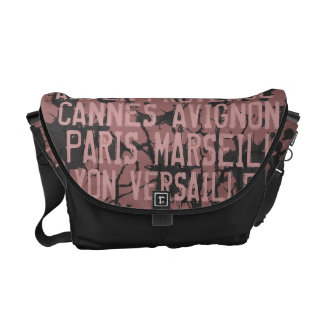 Great Cities of France Urban Grunge Pink & Black Commuter Bag