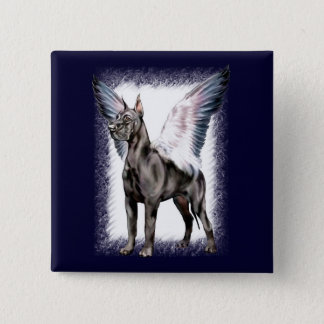 Great Dane Angel Black 2 Inch Square Button