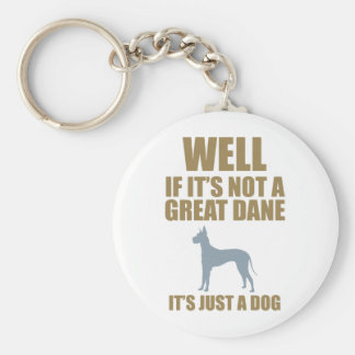 Great Dane Basic Round Button Keychain