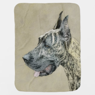Great Dane (Brindle) Painting - Original Dog Art Baby Blanket