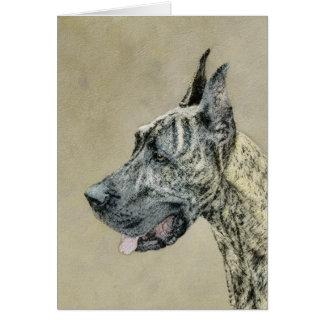 Great Dane (Brindle) Painting - Original Dog Art Card