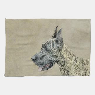 Great Dane (Brindle) Painting - Original Dog Art Kitchen Towel