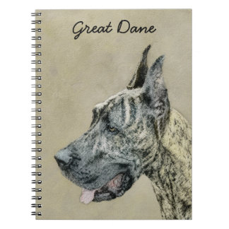 Great Dane (Brindle) Painting - Original Dog Art Notebooks