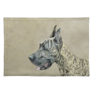 Great Dane (Brindle) Painting - Original Dog Art Placemat