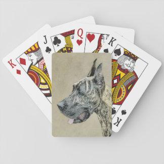 Great Dane (Brindle) Painting - Original Dog Art Playing Cards
