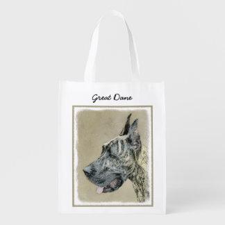 Great Dane (Brindle) Painting - Original Dog Art Reusable Grocery Bag