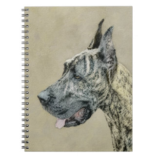 Great Dane (Brindle) Painting - Original Dog Art Spiral Notebook