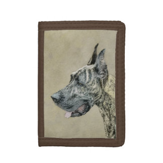 Great Dane (Brindle) Painting - Original Dog Art Trifold Wallet