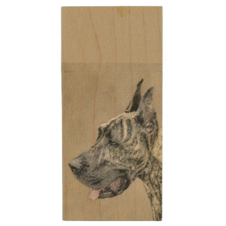 Great Dane (Brindle) Painting - Original Dog Art Wood USB Flash Drive