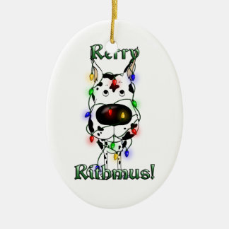 Great Dane - Christmas Lights Ceramic Ornament