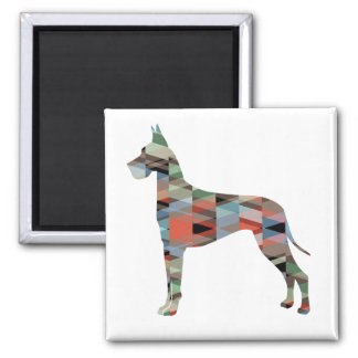 Great Dane Colorful Geometric Pattern Silhouette Square Magnet