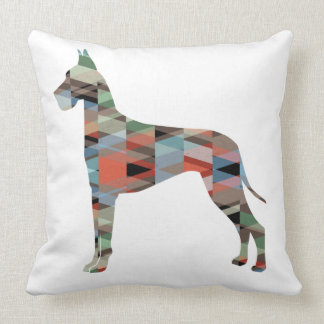 Great Dane Colorful Geometric Pattern Silhouette Throw Pillow