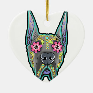 Great dane - cropped ear edition - day of th ceramic heart ornament