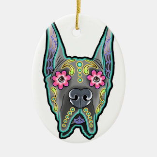 Great dane - cropped ear edition - day of th ceramic oval ornament