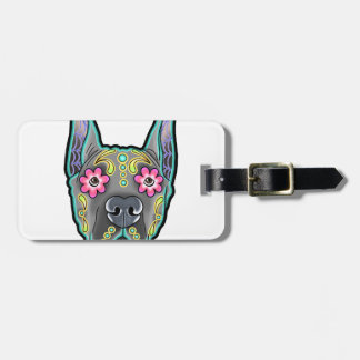 Great dane - cropped ear edition - day of th luggage tag