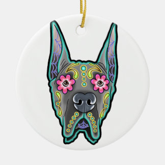 Great dane - cropped ear edition - day of th round ceramic ornament