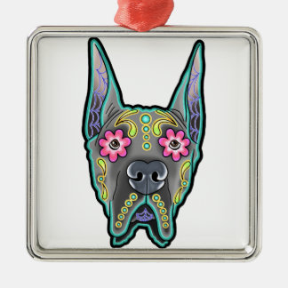 Great dane - cropped ear edition - day of th Silver-Colored square ornament