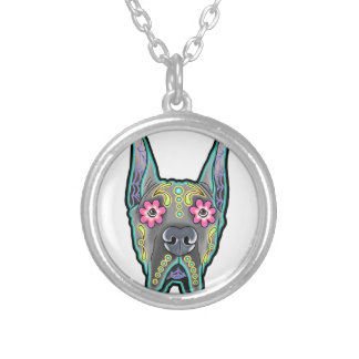 Great dane - cropped ear edition - day of th silver plated necklace
