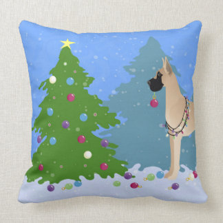 Great Dane Decorating a Christmas Tree in forest Throw Pillow