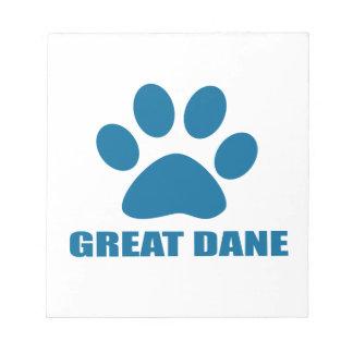 GREAT DANE DOG DESIGNS NOTEPAD