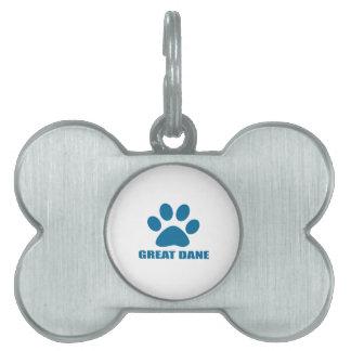 GREAT DANE DOG DESIGNS PET ID TAG