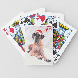 Great Dane Dog Hat Merry Christmas Bicycle Playing Cards