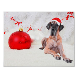 Great Dane Dog Hat Merry Christmas Red Ornament Poster