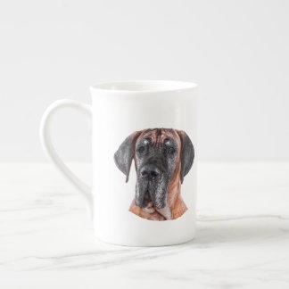 Great Dane Dog head white bone china mug