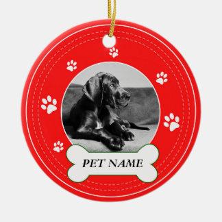 Great Dane Dog Red Paws Print Ceramic Ornament