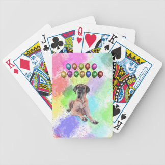 Great Dane Dog Wishing Happy New Year Bicycle Playing Cards