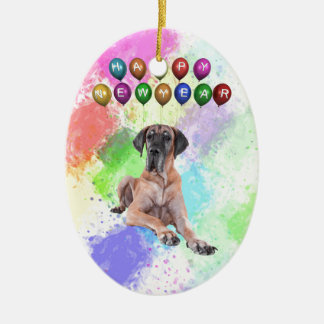 Great Dane Dog Wishing Happy New Year Ceramic Oval Ornament