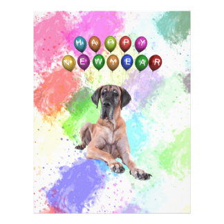 Great Dane Dog Wishing Happy New Year Personalized Letterhead