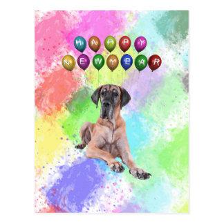 Great Dane Dog Wishing Happy New Year Postcard