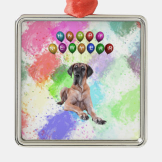 Great Dane Dog Wishing Happy New Year Silver-Colored Square Ornament