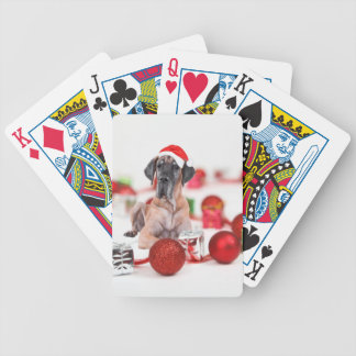 Great Dane Dog with Christmas Ornaments Gifts Bicycle Playing Cards