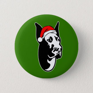 Great Dane Dog with Christmas Santa Hat 2 Inch Round Button
