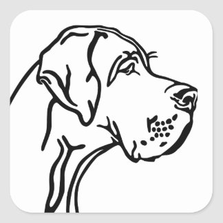 Great dane drawing square sticker