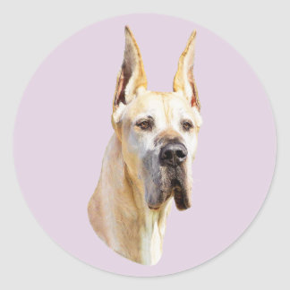 Great Dane Fawn Cropped Classic Round Sticker