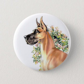 Great Dane Fawn Floral 2 Inch Round Button