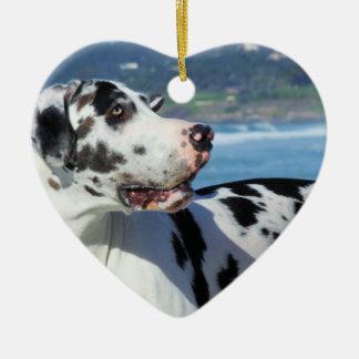 Great Dane - Harlequin - Bogey Ceramic Heart Ornament
