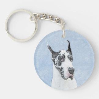 Great Dane (Harlequin) Keychain
