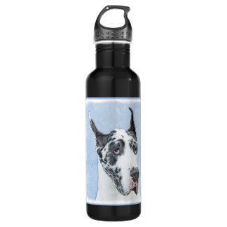 Great Dane (Harlequin) Painting - Original Dog Art 710 Ml Water Bottle