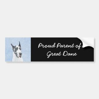 Great Dane (Harlequin) Painting - Original Dog Art Bumper Sticker