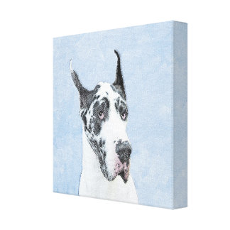Great Dane (Harlequin) Painting - Original Dog Art Canvas Print