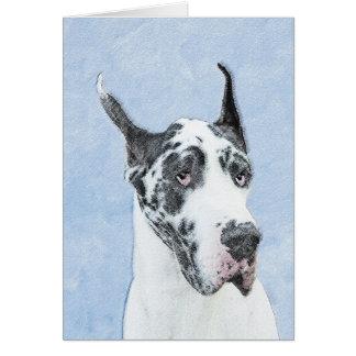 Great Dane (Harlequin) Painting - Original Dog Art Card