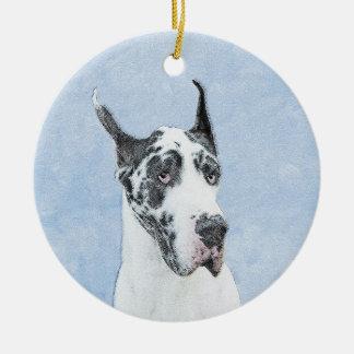Great Dane (Harlequin) Painting - Original Dog Art Ceramic Ornament
