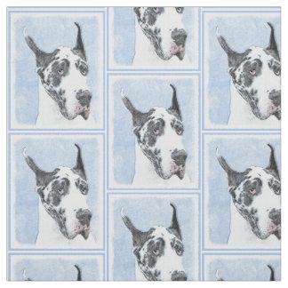 Great Dane (Harlequin) Painting - Original Dog Art Fabric